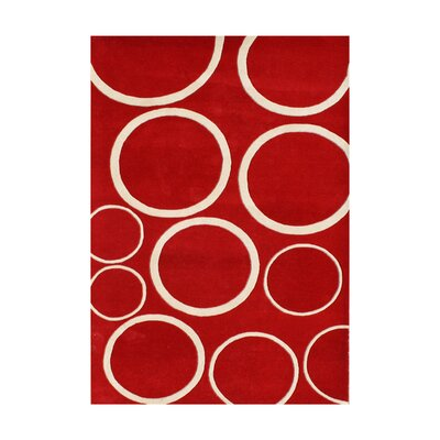 Radisson Hand-Tufted Red Area Rug Rug Size: 5 x 8
