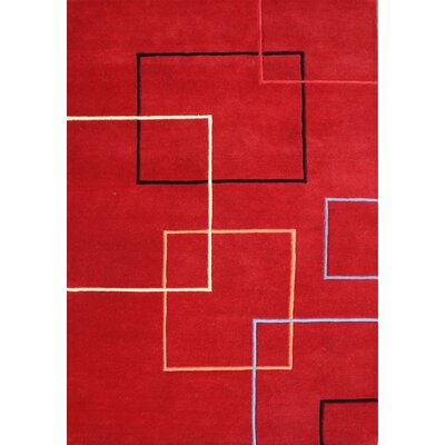 Verrazzano Hand-Tufted Red Area Rug Rug Size: 5 x 8