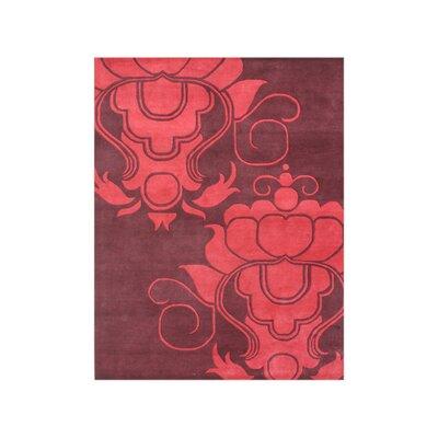 Amerigo Hand-Tufted Burgundy Area Rug Rug Size: 5 x 8