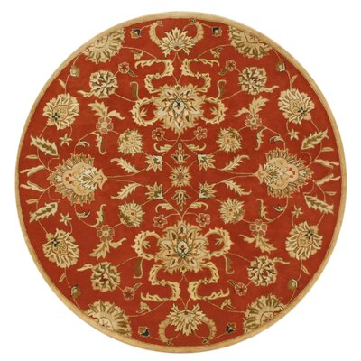 Adra Hand-Tufted Rust Area Rug Rug Size: Round 8'