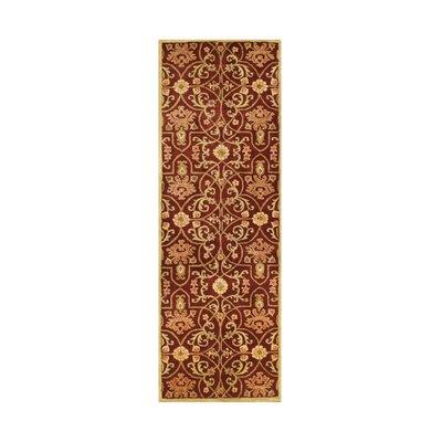 Afzalpur Hand-Tufted Burgundy Area Rug Rug Size: Runner 3 x 10