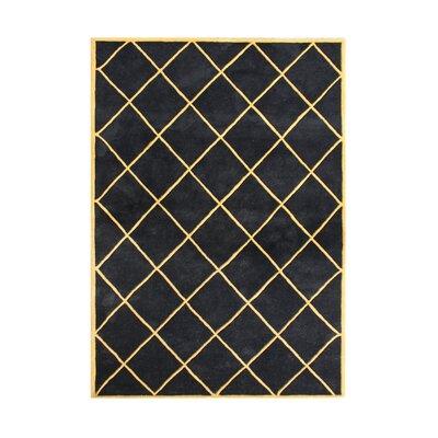Amalner Hand-Tufted Black Area Rug Rug Size: 5 x 8
