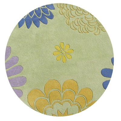 Balaghat Hand-Tufted Bright Lime Green Area Rug Rug Size: Round 6