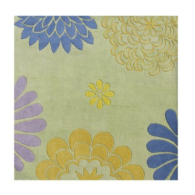 Balaghat Hand-Tufted Bright Lime Green Area Rug Rug Size: Square 6