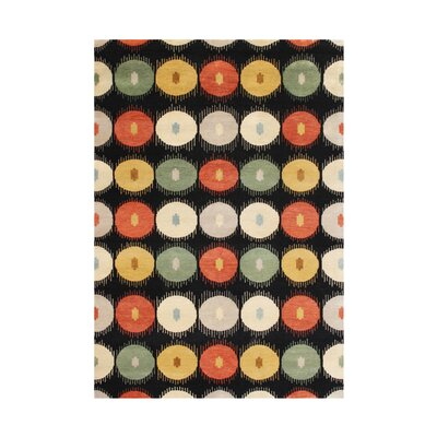 Byasanagar Hand-Tufted Black Ikat Area Rug