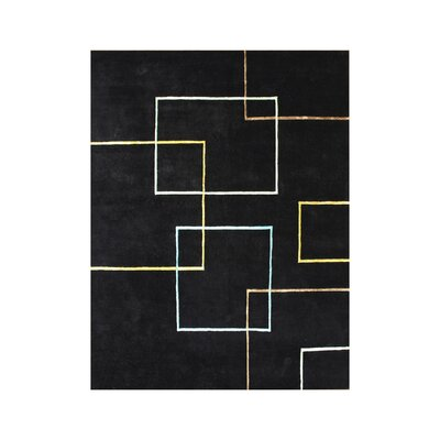 Charkhi Hand-Tufted Black Area Rug