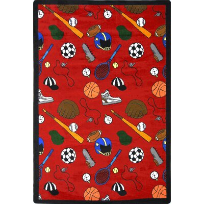 Red Area Rug Rug Size: 78 x 109, Color: Red