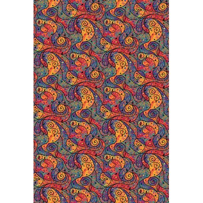 Blue/Red Area Rug Rug Size: 6 x 9