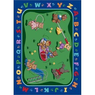 Green/Blue Area Rug Rug Size: 109 x 132