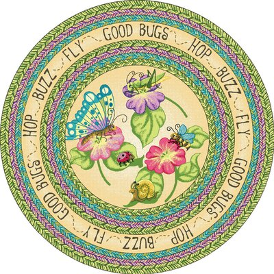 Green Area Rug Rug Size: Round 77