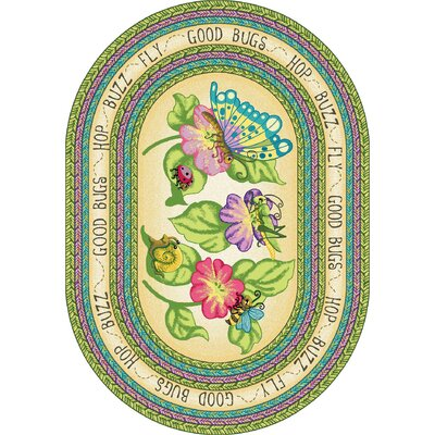 Green Area Rug Rug Size: Oval 78 x 109