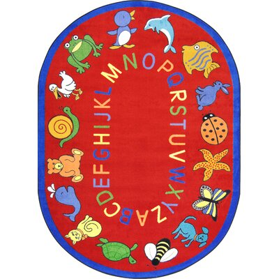 Red Area Rug Rug Size: Oval 54 x 78