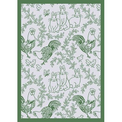 White/Green Area Rug Rug Size: 54 x 78