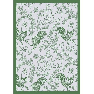 White/Green Area Rug Rug Size: 78 x 109