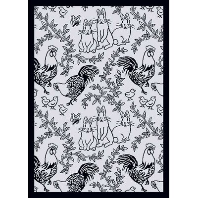 White/Black Area Rug Rug Size: 78 x 109