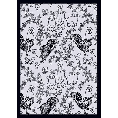 White/Black Area Rug Rug Size: 54 x 78