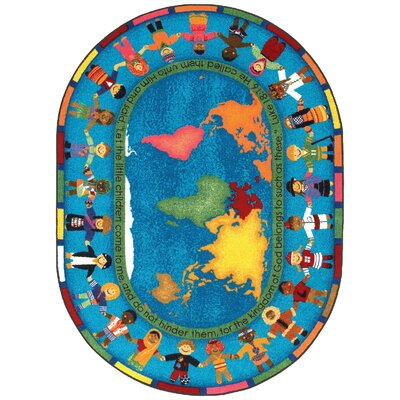 Blue/Yellow Area Rug Rug Size: Oval 78 x 109