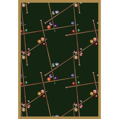 Snookered Emerald Green Area Rug Rug Size: 54 x 78