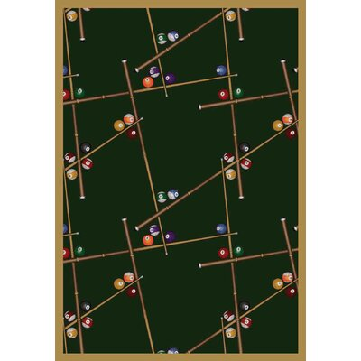 Snookered Emerald Green Area Rug Rug Size: 109 x 132