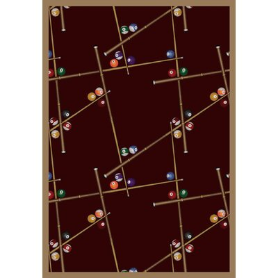 Snookered Burgundy Red Area Rug Rug Size: 54 x 78