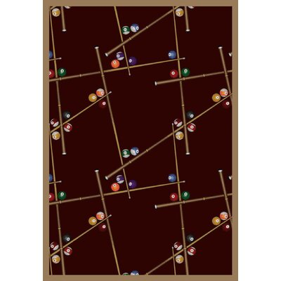 Snookered Burgundy Red Area Rug Rug Size: 10'9