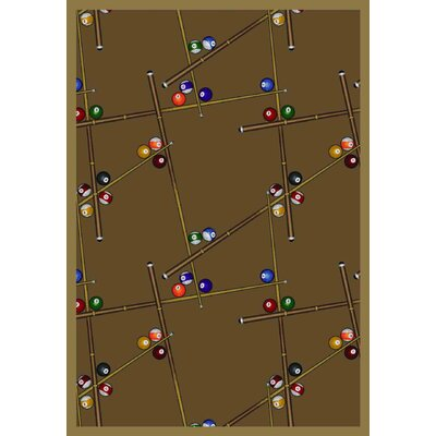 Snookered Dark Rust Area Rug Rug Size: 109 x 132
