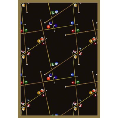 Snookered Black Area Rug Rug Size: 109 x 132