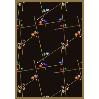 Snookered Black Area Rug Rug Size: 78 x 109