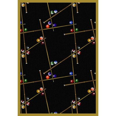 Snookered Black Area Rug Rug Size: 54 x 78