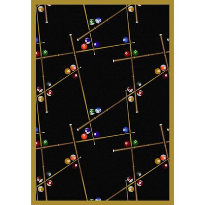 Snookered Black Area Rug Rug Size: 78 x 109