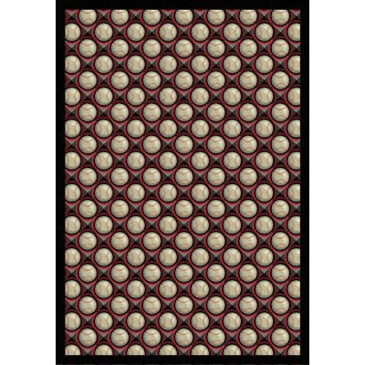 Red/Beige Area Rug Rug Size: 109 x 132