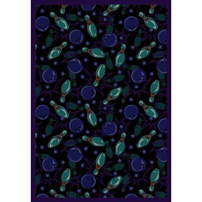 Black/Cool Blue Area Rug Rug Size: 109 x 132