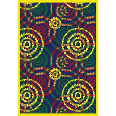 Blue/Yellow Area Rug Rug Size: 78 x 109