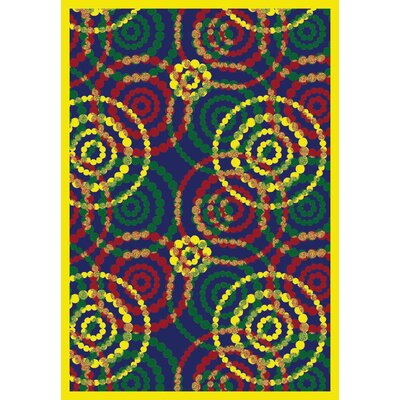 Blue/Yellow Area Rug Rug Size: 109 x 132