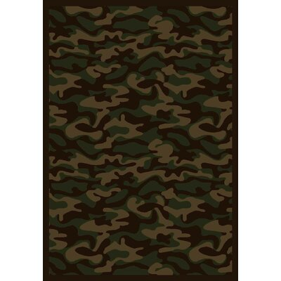 Dark Army Area Rug Rug Size: 3'10