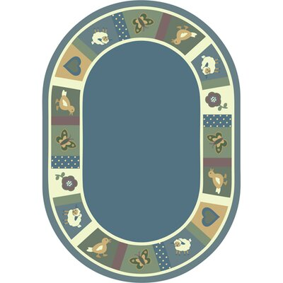 Light Blue Area Rug Rug Size: Oval 54 x 78