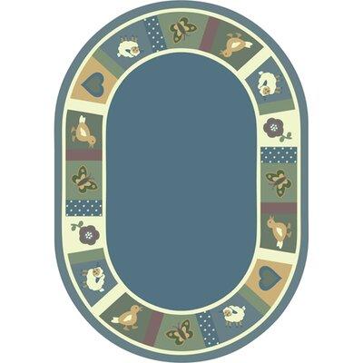 Light Blue Area Rug Rug Size: Oval 109 x 132