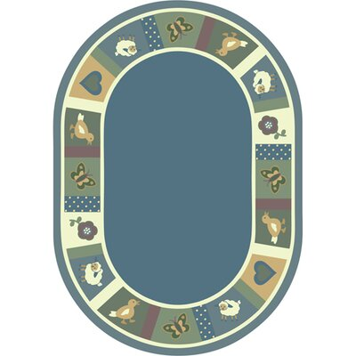Light Blue Area Rug Rug Size: Oval 78 x 109