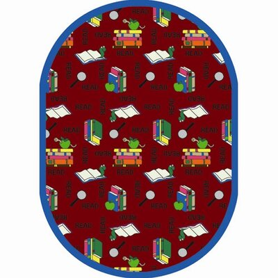 Bookworm Red Area Rug Rug Size: Oval 54 x 78