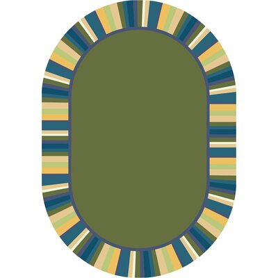 Clean Bold Green Area Rug Rug Size: Oval 78 x 109