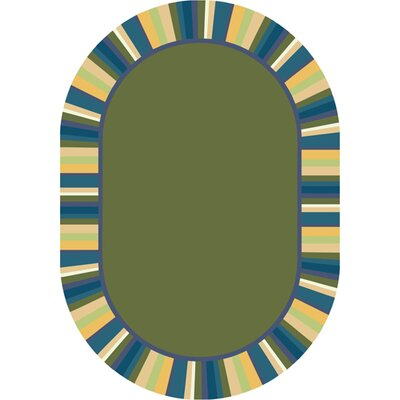 Clean Bold Green Area Rug Rug Size: Oval 54 x 78