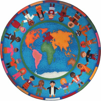 Hands Around the World Area Rug Rug Size: Round 7'7