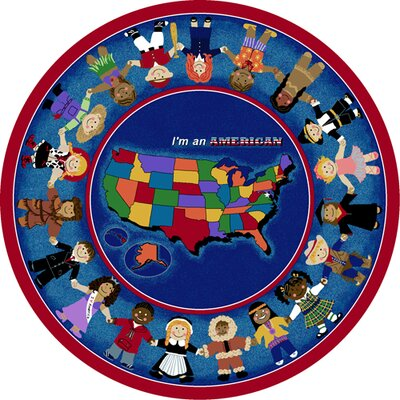 Im an American Area Rug Rug Size: Round 77