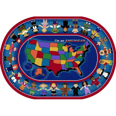 Im an American Area Rug Rug Size: Oval 78 x 109