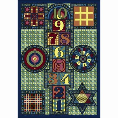 Joy Games Blue Area Rug Rug Size: 54 x 78