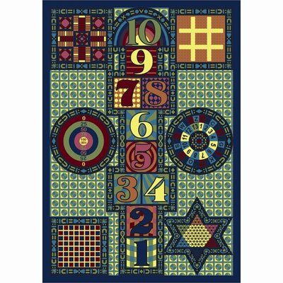 Joy Games Blue Area Rug Rug Size: 109 x 132