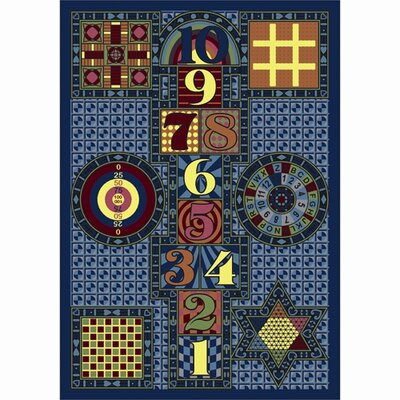 Joy Games Navy Area Rug Rug Size: 5'4