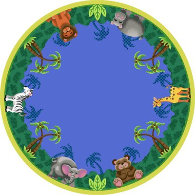 Jungle Friends Area Rug Rug Size: Round 77