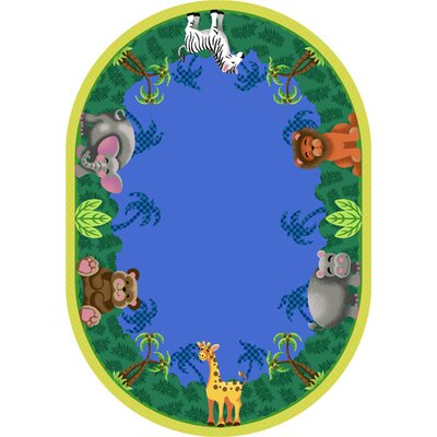 Jungle Friends Area Rug Rug Size: Oval 54 x 78