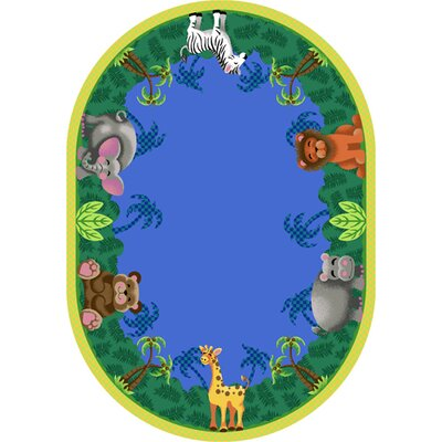 Jungle Friends Area Rug Rug Size: Oval 78 x 109